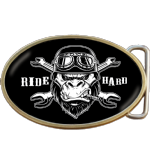 Ride Hard Biker Skull Belt Buckle. Code A0081